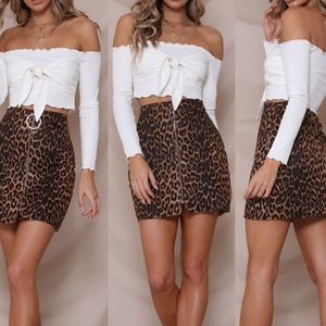 Skirts - Women's Leopard Print Mini Skirt